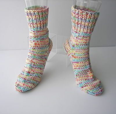 HAPPY Hand Knit UNIQUE Adult SOFT Wool Cotton Extra Thick Socks / Unique Gift
