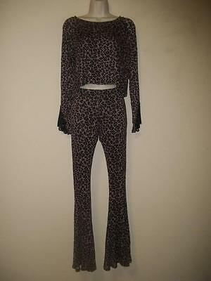 BASIL LOLA Leopard Lace Swing Top Gypsy Hippie Flare Bell Bottom Pant Outfit S
