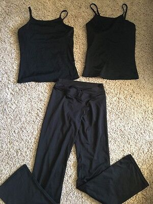 Girl's Lot Balera Black Dance Tanks Jazz Pants Sz Large Child LC