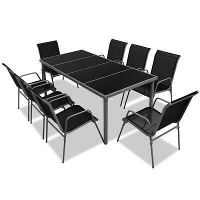 9 Piece Outdoor Dining Table and 8 Chairs Furniture Set Glass Top Black Patio
