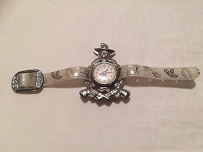 Hopalong Cassidy pressed tin play watch with wristband - rare