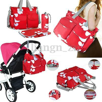 5pcs Nappy Diaper Bag Baby Waterproof Changing Bags Large Tote Shoulder Handbag