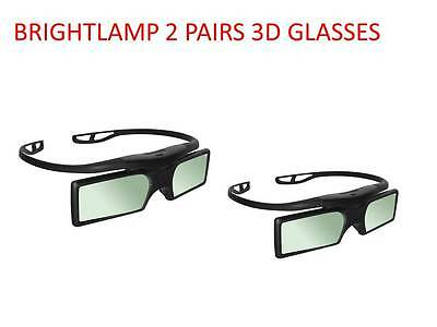 2 Pairs 3D Active Glasses For Sony Bravia Smart 3D Tv Kdl-50W829B Kdl-55W829B