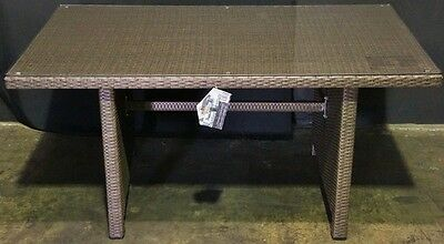 Outdoor Dining Table Shelter PE Wicker Glass Top 145 x 85cm New in Box