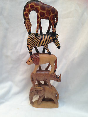 """Handcrafted Wooden 5 African Animals Carved Sculpture/Totem 13.5 x 4"""""""