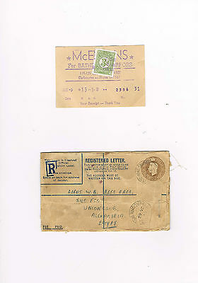 Aust.state 3d duty stamp  & WW2 envelope UK to Egypt.