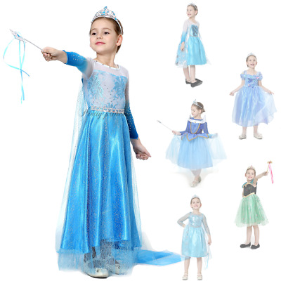 UK Snow Queen Elsa Kids Party Costume Long Fancy Dress Cosplay Outfit 2-8 Years