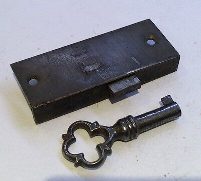 Small Brass Cabinet Lock with Ornate Steel Key