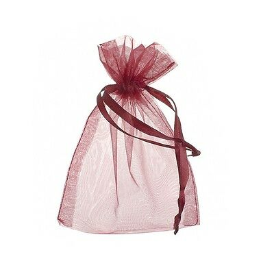 Large Drawstring Organza Gift Bags Dark Red 15x11cm Pack of 6 (F16)
