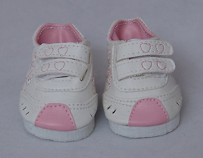 White / Pink Heart Sneakers, Doll Shoes 4 Zapf Baby Born / Baby Alive