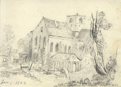 H.G. Clinton - 1824 Graphite Drawing, Building Exterior