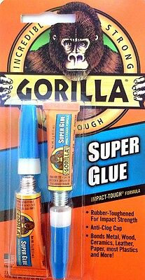 GORILLA SUPER GLUE TOUGH BOND 2 X3g tubes ANTI CLOG CAP BONDS METAL,WOOD,CERAMIC