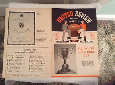 YOUTH CUP PROGRAM:-   MANCHESTER UNITED YOUTH  v. NEWCASTLE UNITED YOUTH 1955/6
