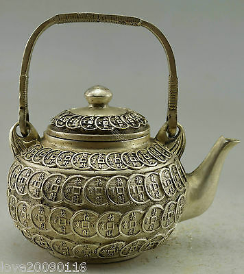 Collectible Old Handwork Silver Plate Copper Carved Bring Money Coin Tea Pot