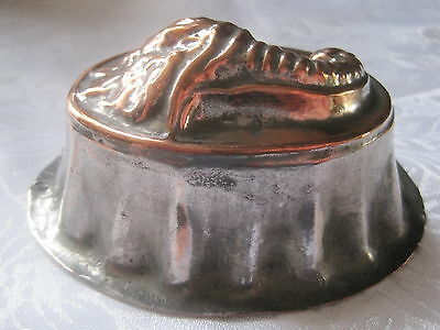 Antique Victorian small copper jelly mould with cornucopia /horn of plentydesign