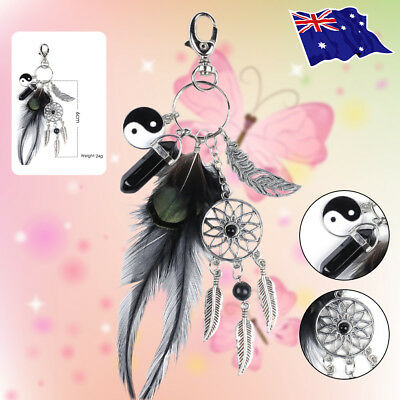 Black Agate Keyring Silver Feather Dreamcatcher Bag Car Keychain Gifts Fashion