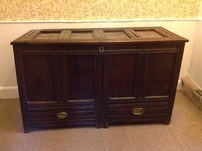 Antique English Georgian Panelled Oak Mule Chest Blanket Box Trunk with Drawers