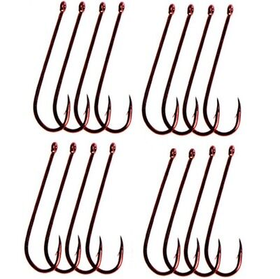 50pcs size 2 Long Shank Chemically Sharpened Fishing Hooks RED Whiting Redfin
