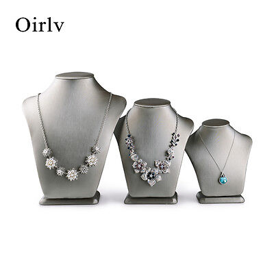 Oirlv Jewelry Display Necklace Bust Stand for Shop Counter Faux Leather White