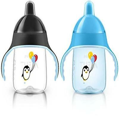 Pack Of 2 Philips Avent My Penguin Sippy Cup Blue 9 Ounce Stage 2 Soft Dishwashe