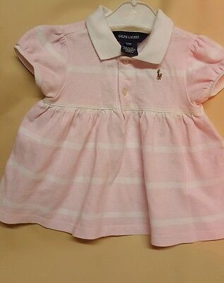 New  baby girls white and pink Ralph Lauren polo t shirt size 12 months
