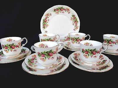 """Queens / Rosina Fine Bone China   """"Woman and Home"""" Set of 6 Trio's & Cake Plate"""