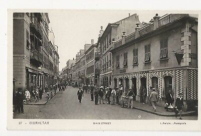 Gibraltar.  MAIN STREET.  Real photo postcard by L. Roisin ,Fotegrafe.   1920's?