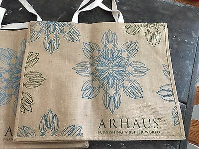 Arhaus Reusable Eco Friendly 100% Jute Tote Bag Extra LARGE Shopping Lined