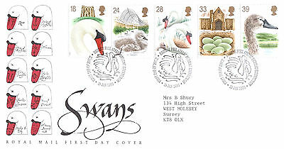 Royal Mail First Day Cover-Swans-Fdi, British Philatelic Bureau, Edinburgh Shs
