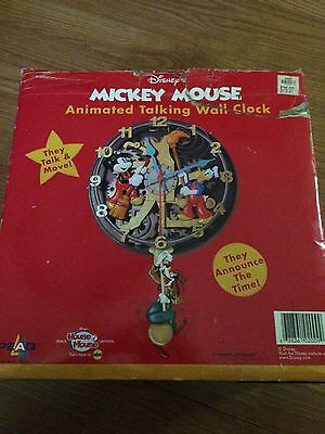 Disney Mickey Mouse Animated Talking Wall Clock Rare ,KNG