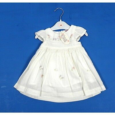 Chloe Louise Designer Baby Girls Floral Embroidered Smocked Traditional Dress