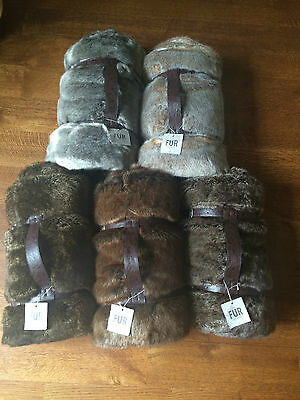 """NEW Restoration Hardware LUXE FAUX FUR Throw ~COYOTE~ 50 x 60"""" Nice and Soft!"""