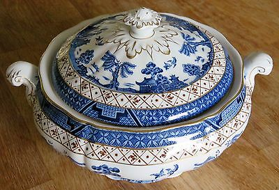 Vintage Willow Lidded Tureen Vegetable Dish Booths Real Old Willow 2pnt - excel