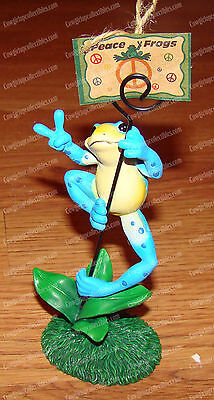 Say Cheese Blue Frog Photo Clip (Peace Frogs by Westland, 18852)