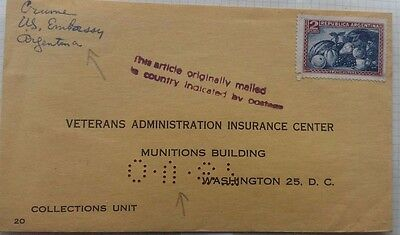Argentina 1957 United States Embassy Veterans Dept Cover Sent Diplomatic Bag