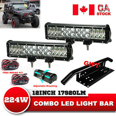 12'' 7D 224W  Led Light Bar Driving Lamp Flood Spot SUV Offroad 4WD