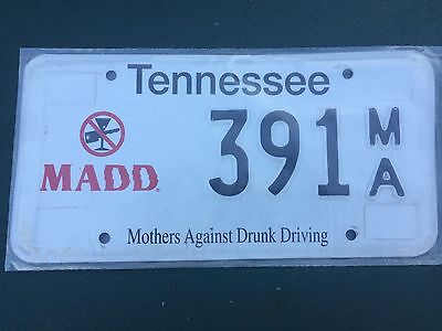 Tennessee MADD  License Plate Specialty Plate.