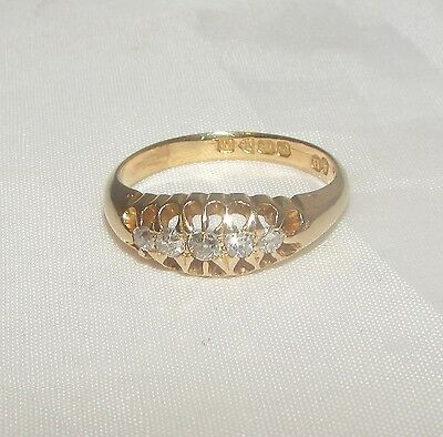 Old antique 18ct gold 5 stone diamond ring size N 1/2 Birmingham dated 1913 -14