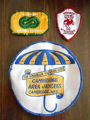 Vintage Lot 3 JAYCEES Wisconsin Patches Awards Assorted Fraternal Organization