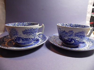 2 large blue & white cups & saucers Spode England Italian Spode Design C1816Q