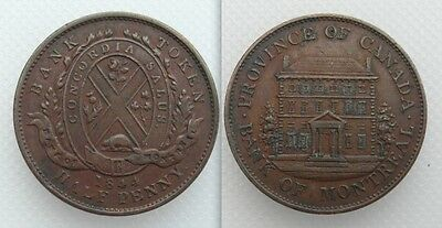 Collectable 1844 Bank Of Montreal Half-Penny Token - Lot 1