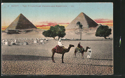 CPA Gizeh, The Pyramids of Kheops and Kheptren, Pyramiden von Gizeh 1921