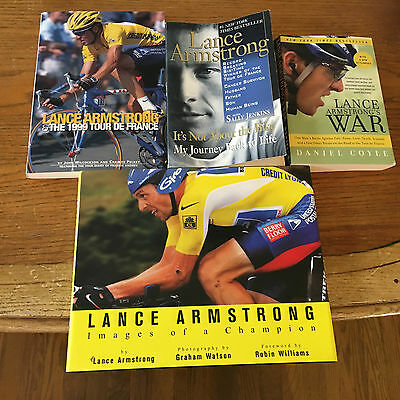 """4, Lance Armstrong Books: 1999 TDF, """"WAR"""", Not About the Bike & """"Images""""-Watson."""