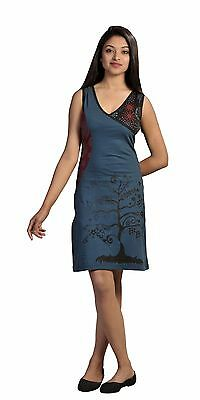 Tattopani Women Summer Sleeveless Dress With Tree Embroidery