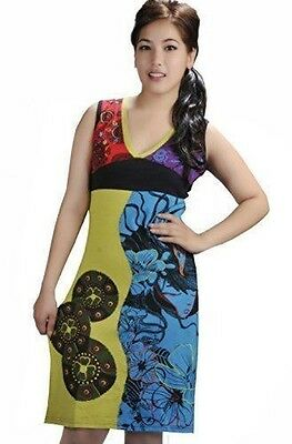 Tattopani Women's Summer Sleeveless Dress With Embroidery Work