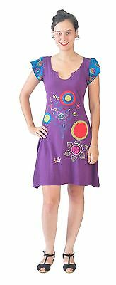 Women's Summer Short Sleeve Purple Dress With Embroidery & Patch Design