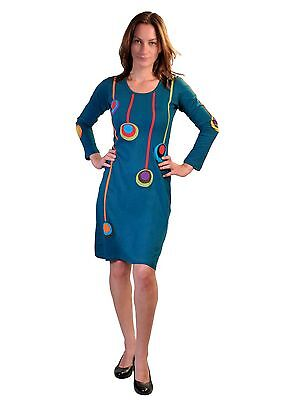 Ladies Long Sleeved Colorful Dress with Patch Design
