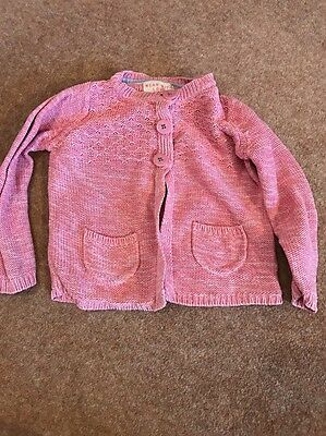Toddler Girl Pink Knitted Cardigan M&S 2-3 Years Long Sleeved