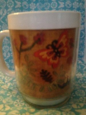 Vtg Thermo Serv Mug Butterfly Floral Coffee Cup