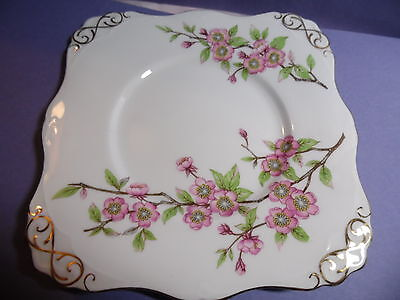 "square decorative plate Tuscan fine English bone china ""Springtime"" 8.75"" across"